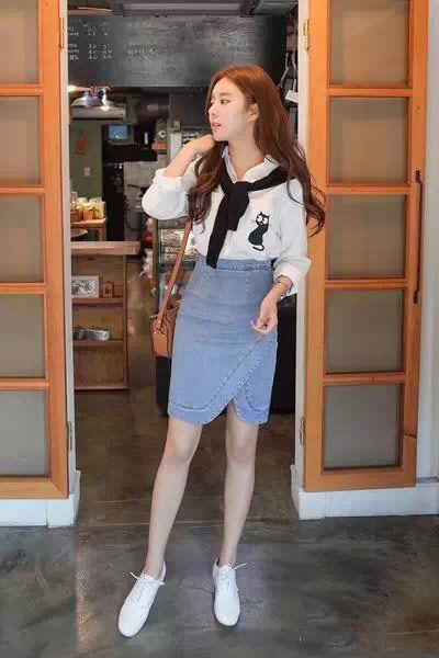 衬衫+短裙 学韩范儿这么穿都好看!!